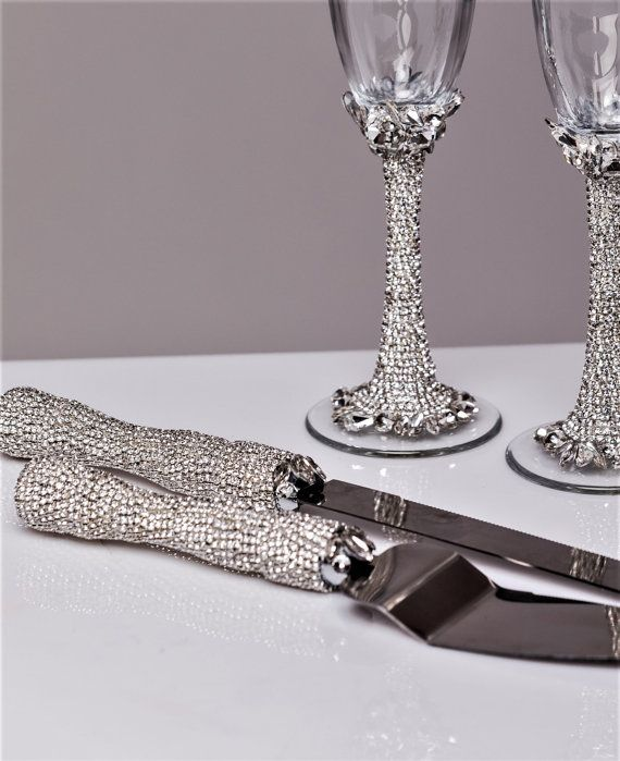 Wedding Gles And Cake Server Set Silver Toasting Flutes Cutting