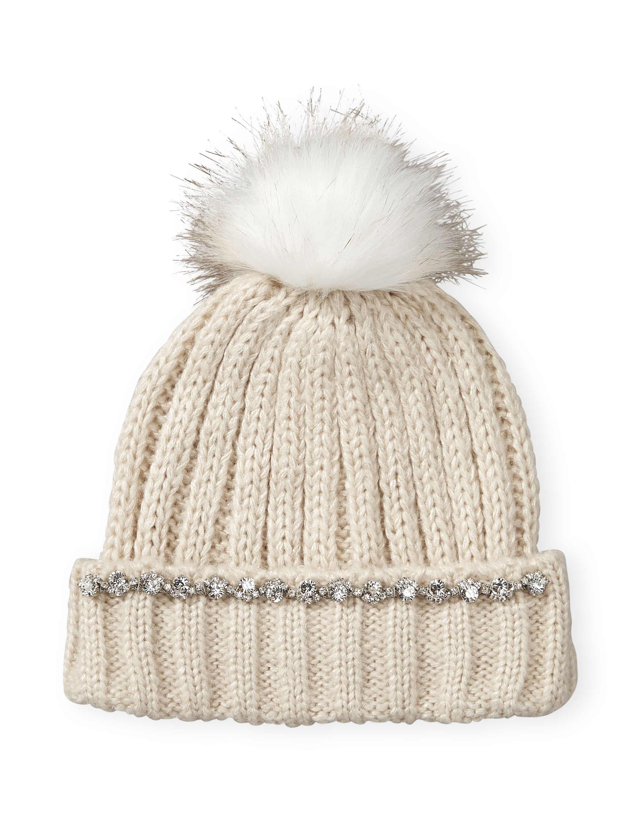 87d75ef72ad Embellished Pom Pom Hat - Faux gems and this ultra soft pom pom are the  perfect complements to sparkling winter weather!