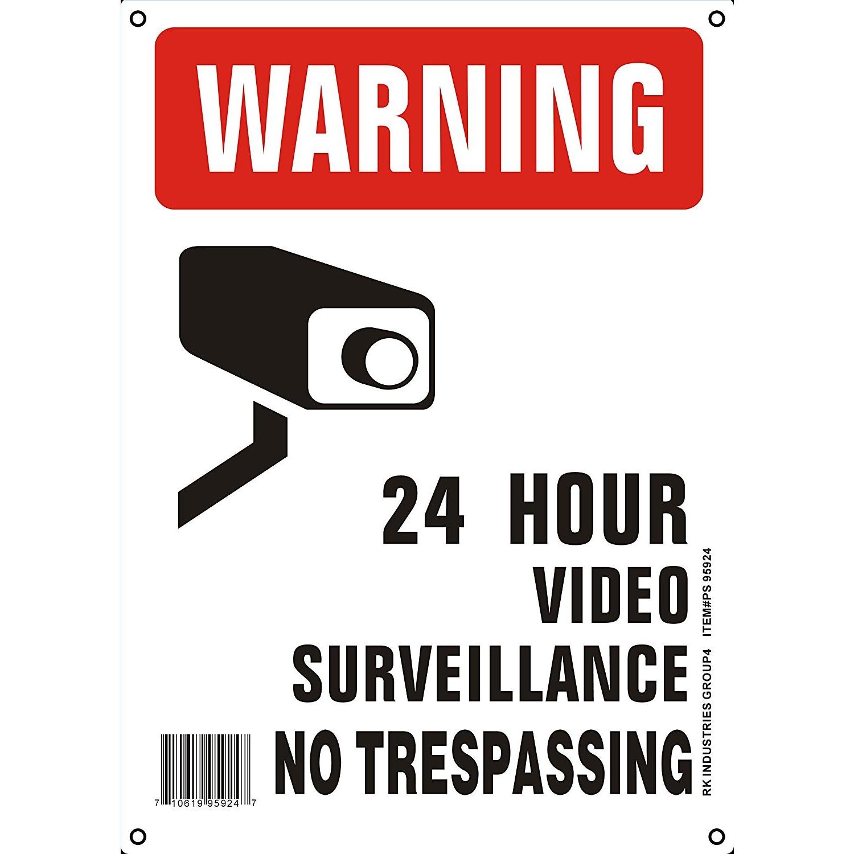 """RK OSHA Safety Sign, Legend """"Warning 24 Hour Video"""