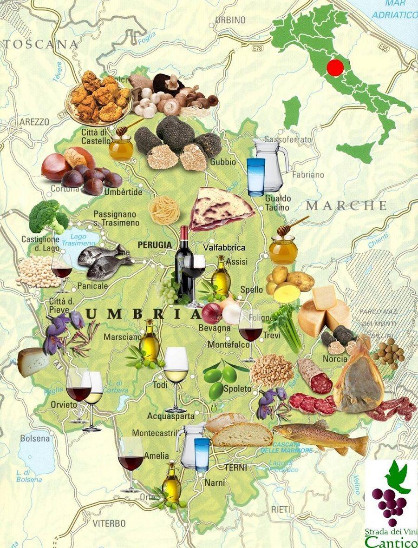 Mappa prodotti tipici umbri strada dei vini del cantico for Prodotti tipici roma