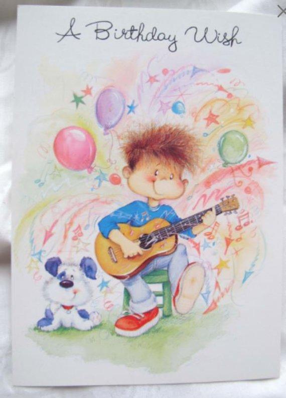 Guitar Player Childs Birthday Card Musical Birthday Card Puppy
