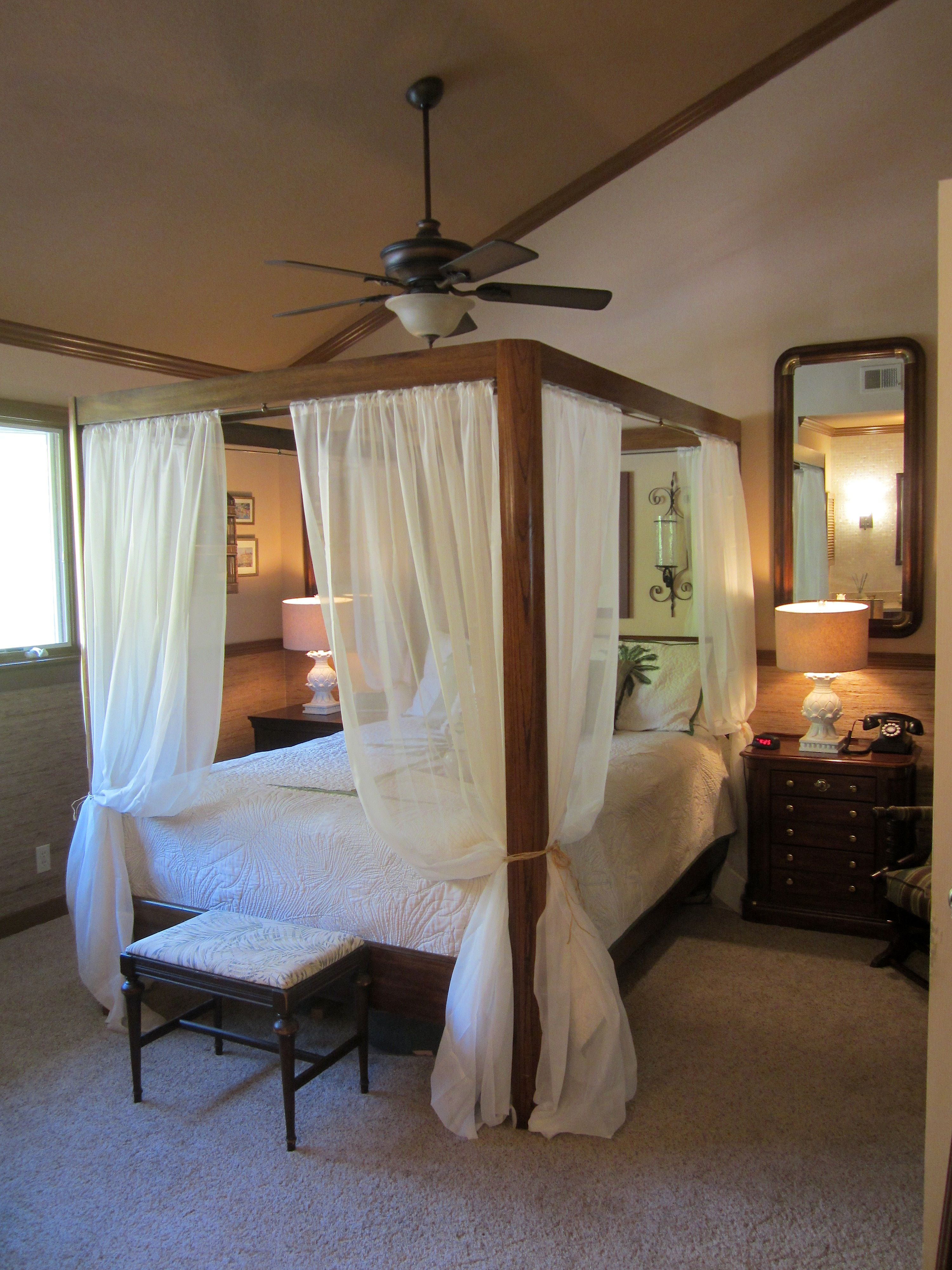 View Of The Canopy Bed And New Ceiling Fan Tropical