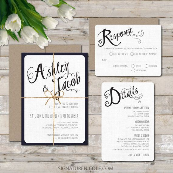 Elegant Navy Wedding Invitation With Rsvp And Detail Card Quick Delivery Organic Script Simple Elegance Style Set Of 10