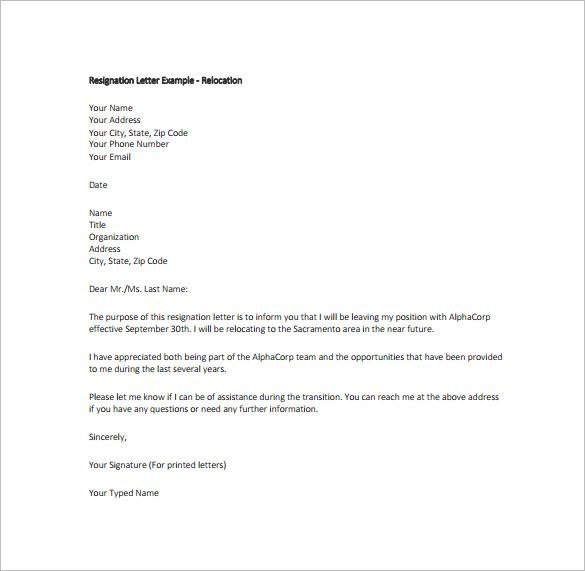 Image result for letter of resignation Resignation template - example of a letter of resignation