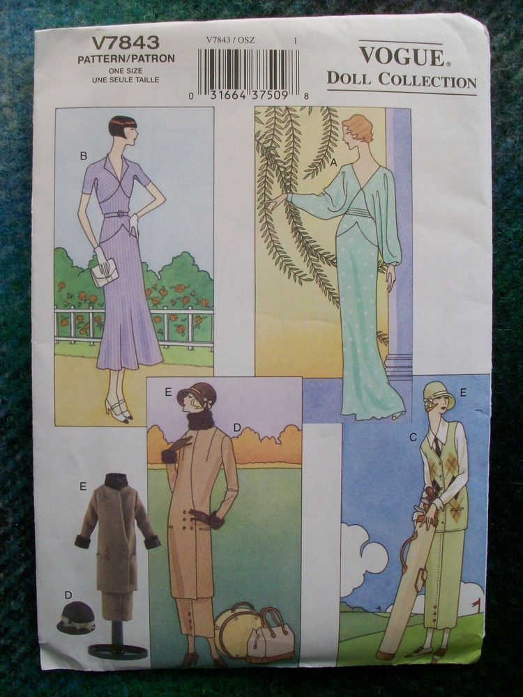 VOGUE Vintage Sewing Pattern 7843 11 1/2 inch Doll 1920's-1930's Clothes Uncut