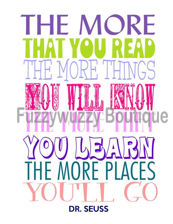Reading Quotes For Kids Dr Seuss Reading Quote Printable Children'sfuzzywuzzyboutique .