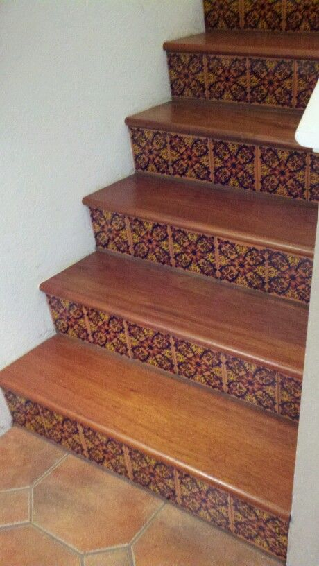 Mexican Talavera tile stairs