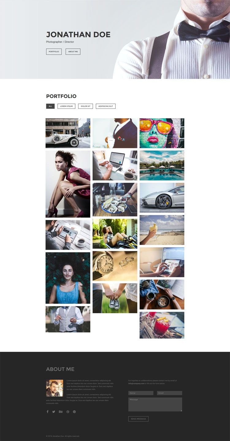 Free Photography Portfolio HTML5 Template built with Bootstrap ...