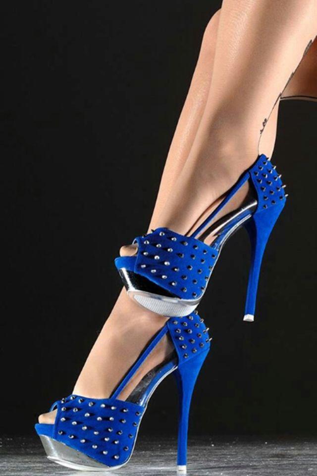 Blue High Heels www.madamebridal.com