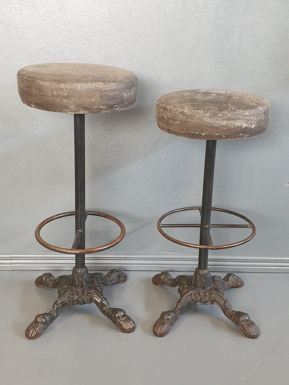 Sensational Pair High Bar Stools With Cast Iron Base In 2019 Antique Gmtry Best Dining Table And Chair Ideas Images Gmtryco