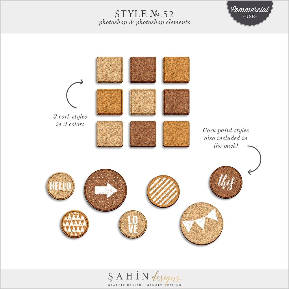 Style No52 Cork Cu Commercial Use Digital Scrapbook Kits