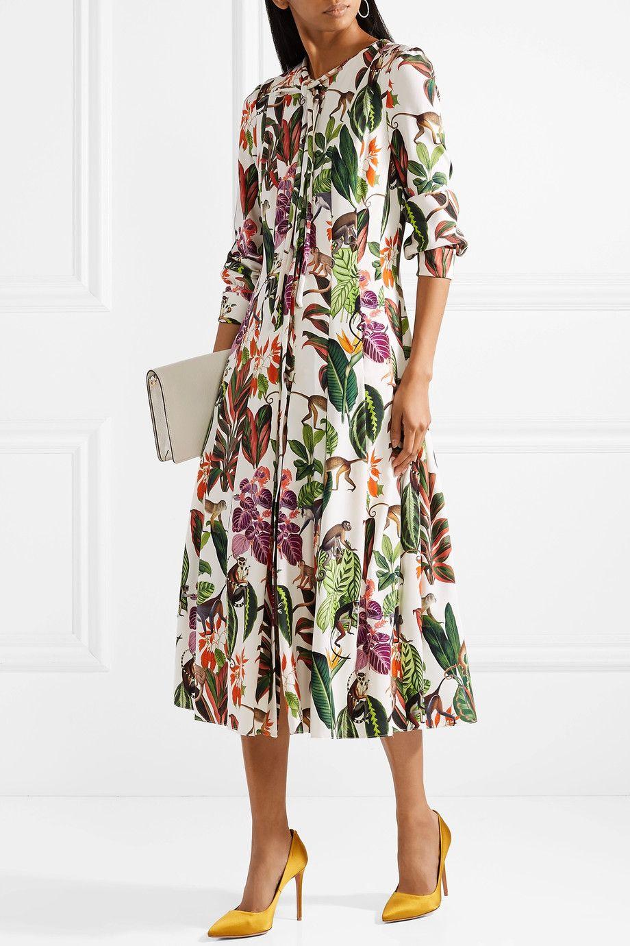 9f1056de956dad OSCAR DE LA RENTA Pussy-bow printed stretch silk-blend midi dress ...