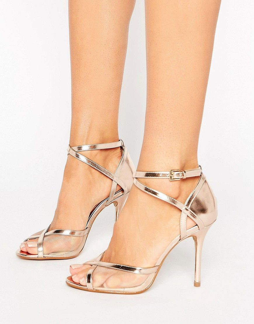 1c5d18935fb Head Over Heels By Dune Meryl Rose Gold Heeled Sandals - Gold ...