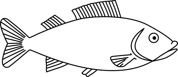Fish outline stencil. Easy long drawings clip