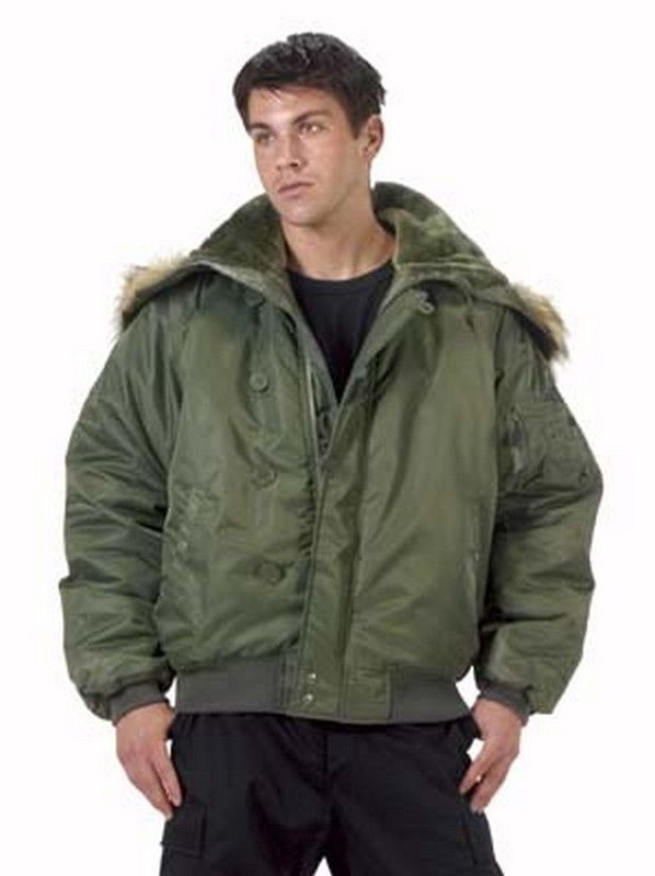 Heavy Insulated Flight Jacket Equipped With A Zipper Dividing Pile-lined  Hood With Synthetic Fur Trim Hand Warmer Pockets Left Sleeve Zipper Pocket  With Pen ... 8dfc3c759f2