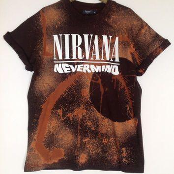 Unique Unisex Acid Wash T-Shirt Black Copper Look - Nirvana Grunge ...