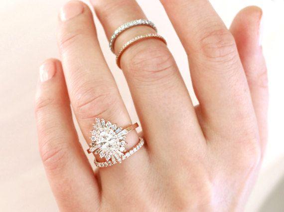 Oval Gatsby Ring Art Deco Boho Geometric Cluster Engagement