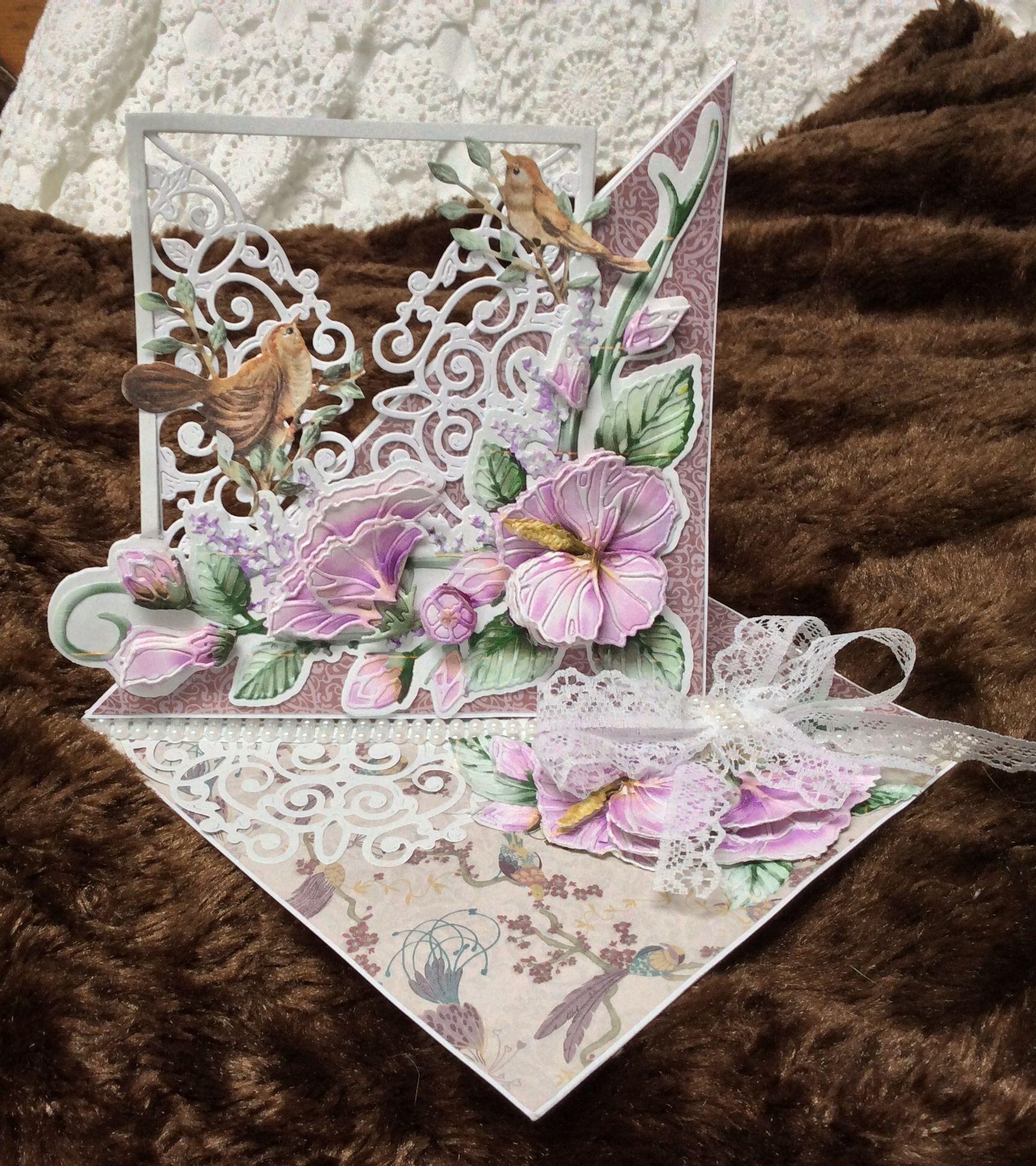 Tattered Lace x2 Oiseau Fleur Crescent Die Cuts Carte Topper