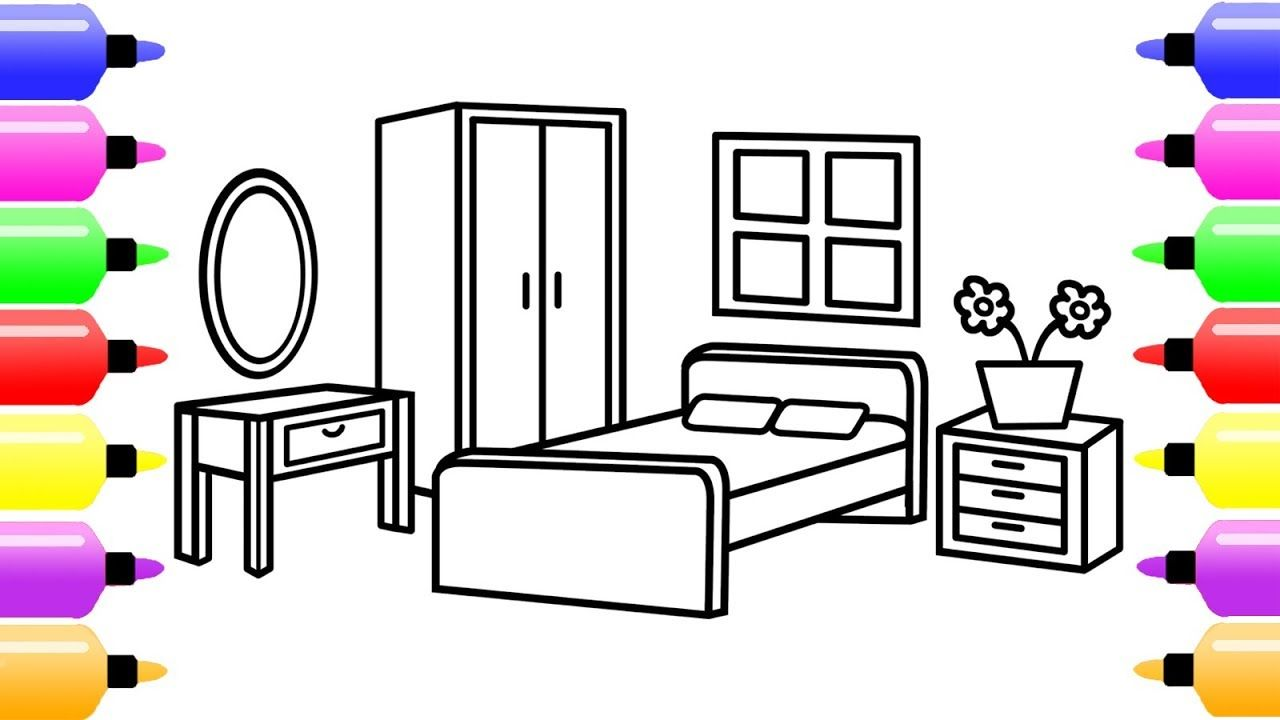 How To Draw A Bedroom For Kids Coloring Book For Children Coloring Page For Kids Coloring Pages For Kids Coloring Books Drawing For Kids