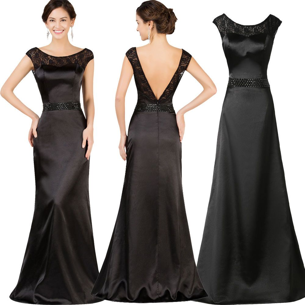Vintage Long Satin Ball Gowns Formal Pageant Party Evening Prom ...