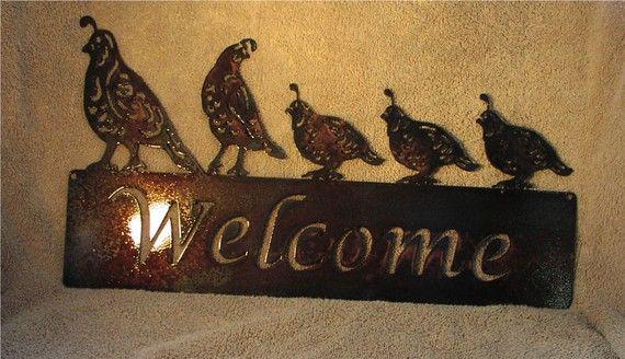 5 Quail Welcome Sign Metal Art Custom Via Etsy