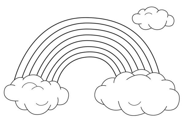 Rainbow An Unique Rainbow Between Two Clouds Coloring Page