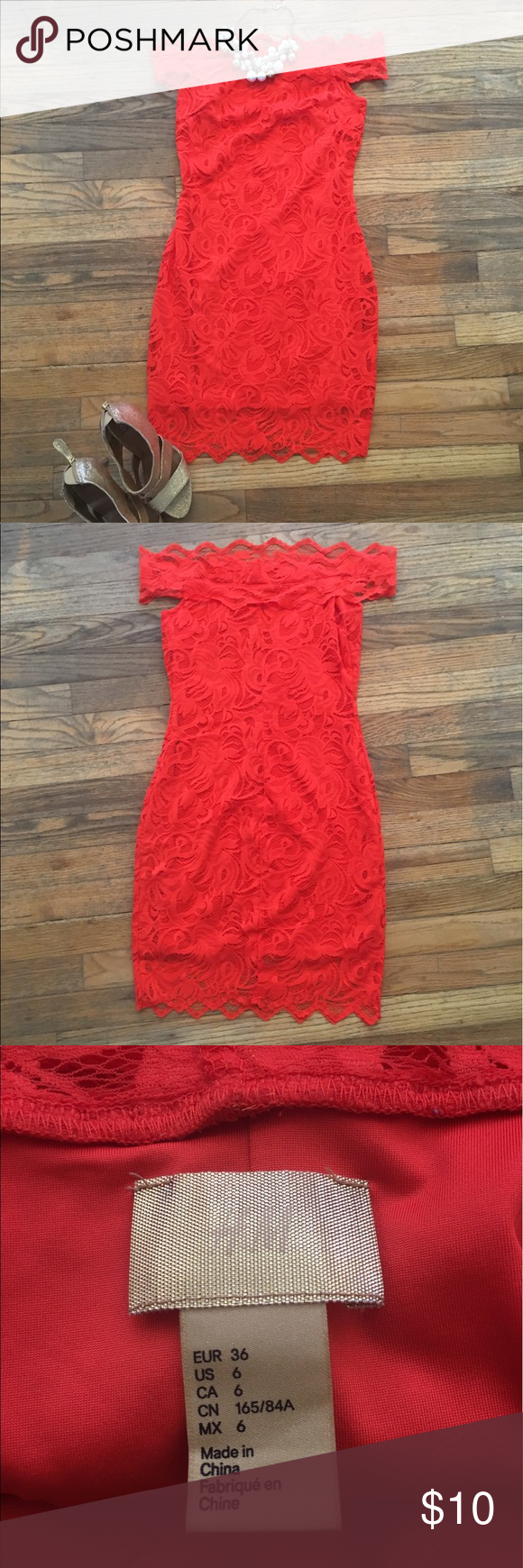Off the shoulder orange lace cocktail dress Orange you glad you found this dress?! The bodycon lace is figure flattering and the off the shoulder, Bardot style cut is fun and on trend. The orange color is electric and sure to turn some heads! H&M Dresses Mini