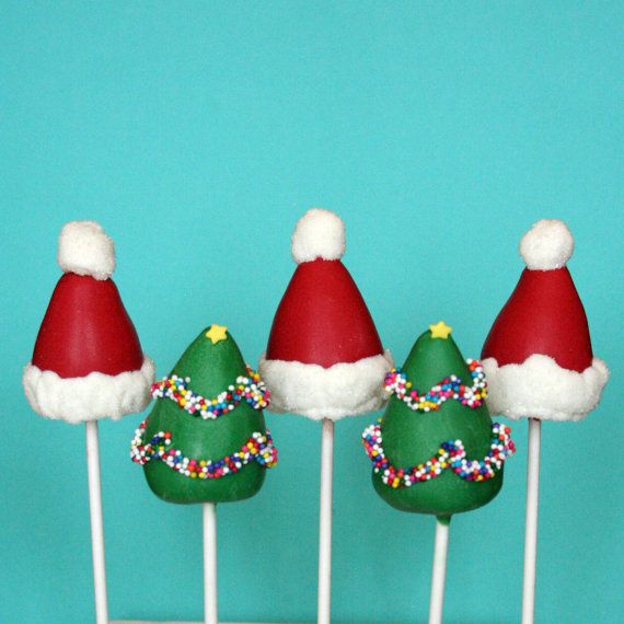 12 Christmas Tree  Santa Hat Cake Pop Combo by SweetWhimsyShop
