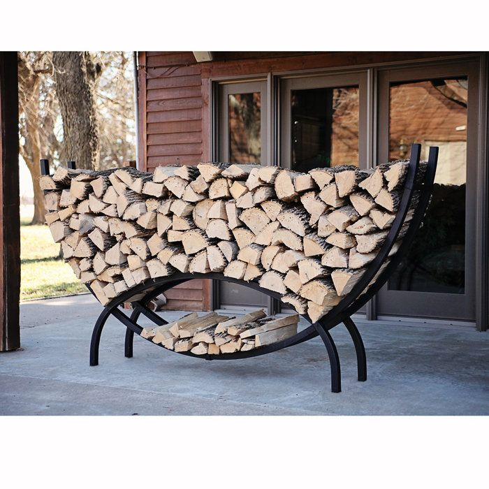 Crescent Shaped Metal Outdoor Firewood Log Rack with Kindling