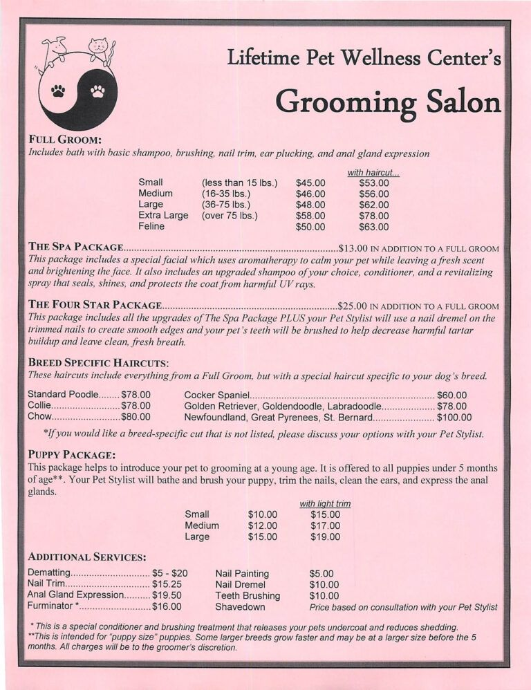 Grooming Services Price Sheet Dog Grooming Salons, Dog