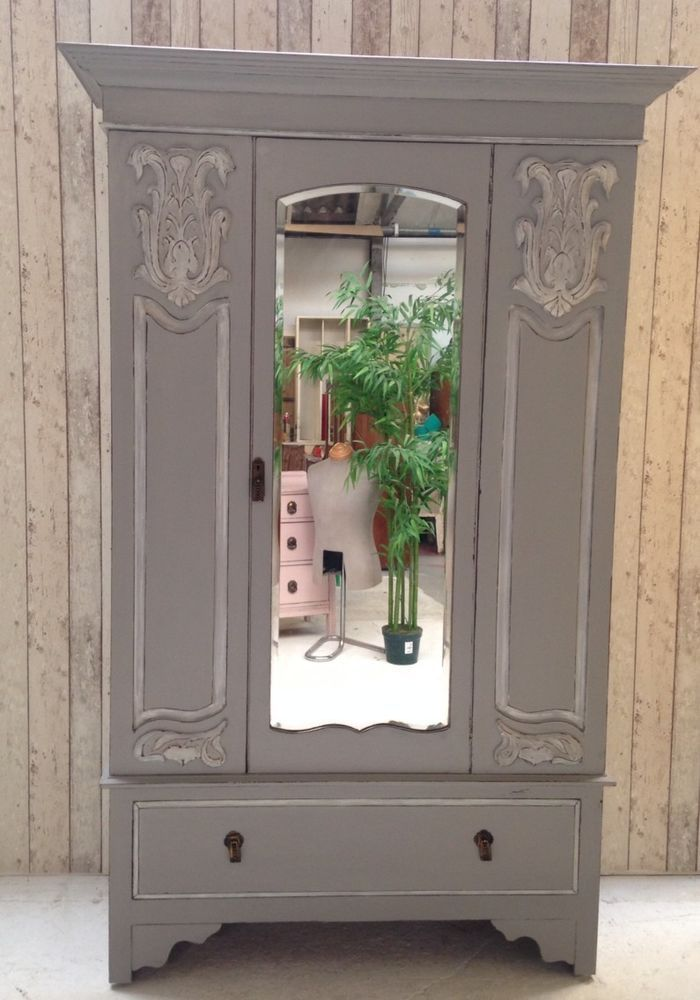 Vintage Chic Victorian Mirrored Wardrobe Armoire French