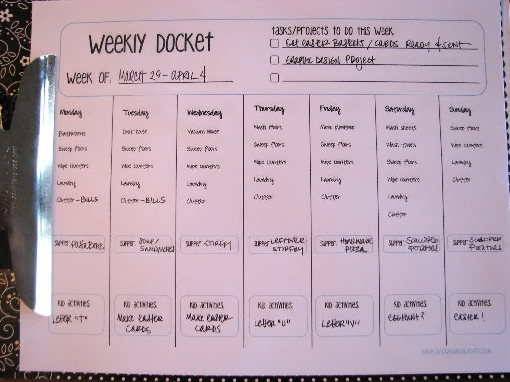 Weekly Docket Daily Cleaning Tasks Meal Planning  Kids