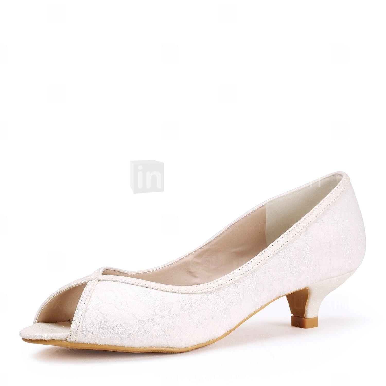Lace Women's Wedding Low Heel Peep Toe Pumps Shoes(More Colors) - USD $