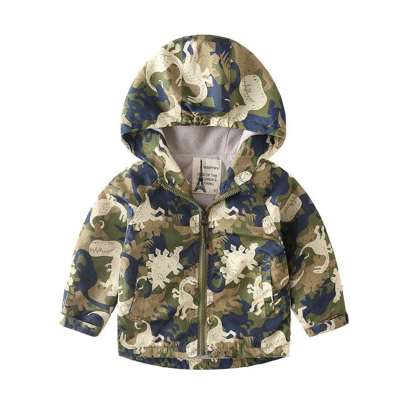KISBINI Girls Cartoon Dinosaur Jacket for Kids boy Girl Windproof Pants Lightweight Hood Windbreaker Outwear