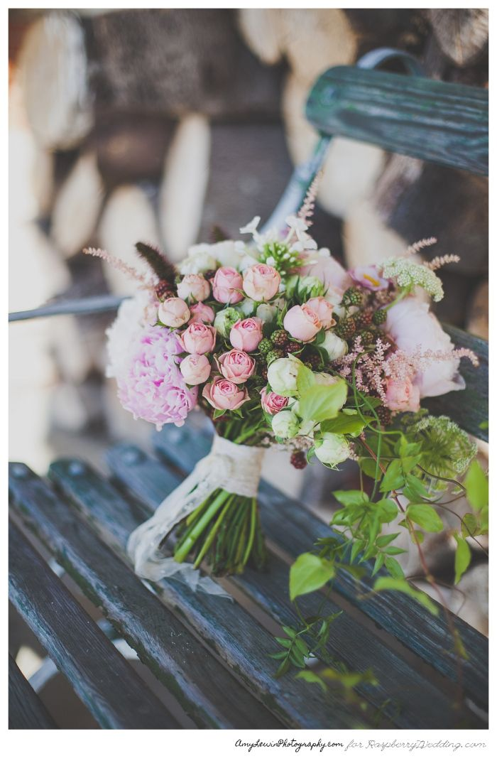 Pink and green wedding bouquet STYLED SHOOT: JANE AUSTEN INSPIRED WEDDING   Raspberry Wedding