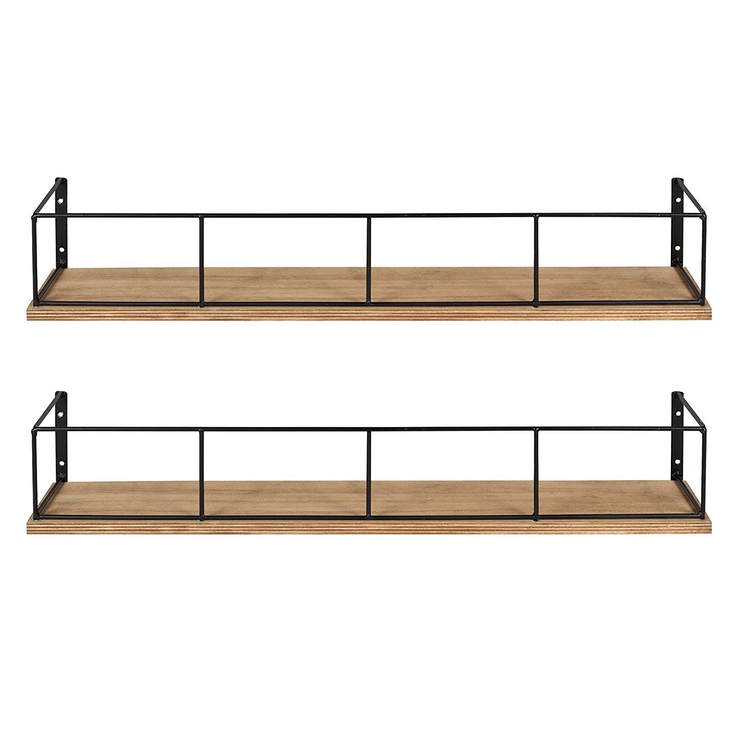 Amazon Com Kate And Laurel Benbrook 24 Inch 2 Pack Wood And Metal Floating Wall Shelves Rustic Brown And Black Home Kitchen Banheiro