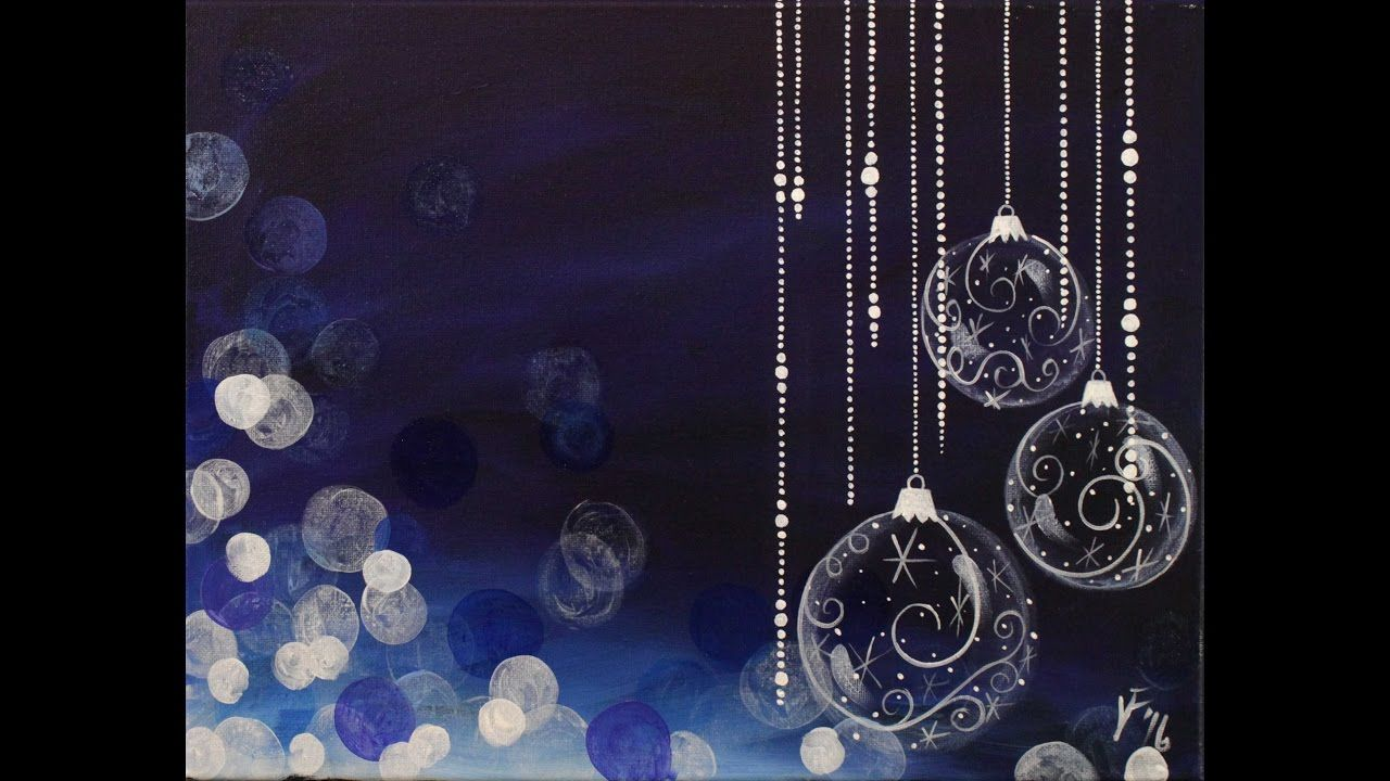 Blue Christmas Step by Step Acrylic Painting on Canvas for ...