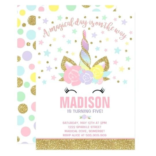 pink and gold invitations together with rainbow unicorn birthday