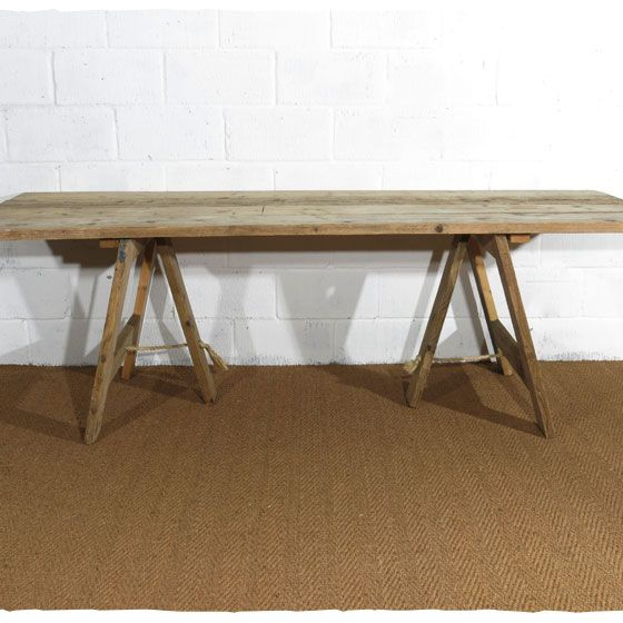 Rustic Wooden Trestle Tables Made From Reclaimed Boards Dining Table Food Drinks