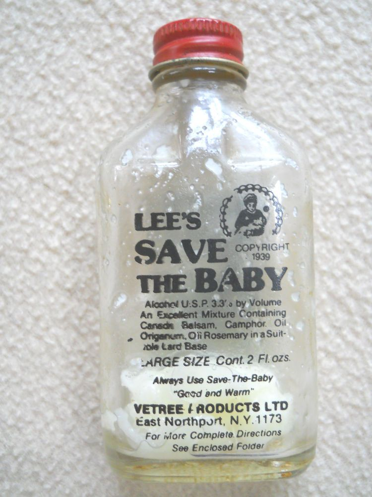 Vintage 1939 LEE'S Save the Baby 2 oz Medicine bottle /chest & nasal colds