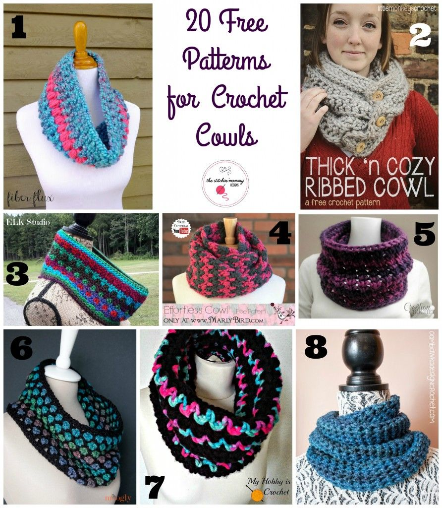 20 Free Patterns for Crochet Cowls | Crochet | Pinterest | Ponchos ...