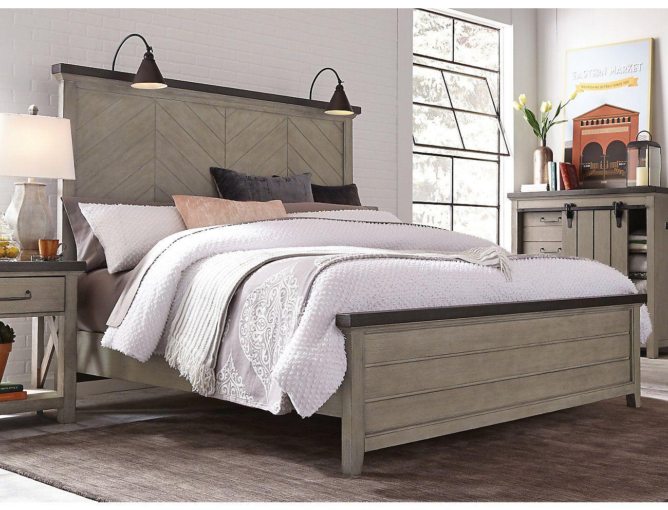 Modern Farmhouse Weathered Grey King Bed Art Van Home