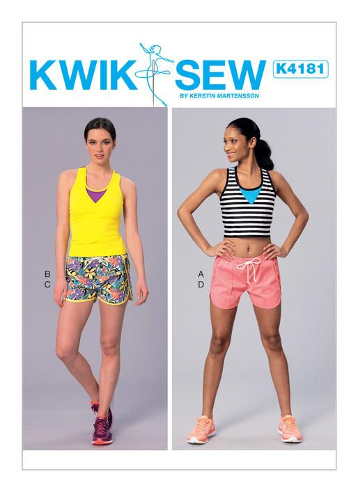 Kwik Sew activewear sewing pattern K4181. Misses\' Racerback Tops and ...