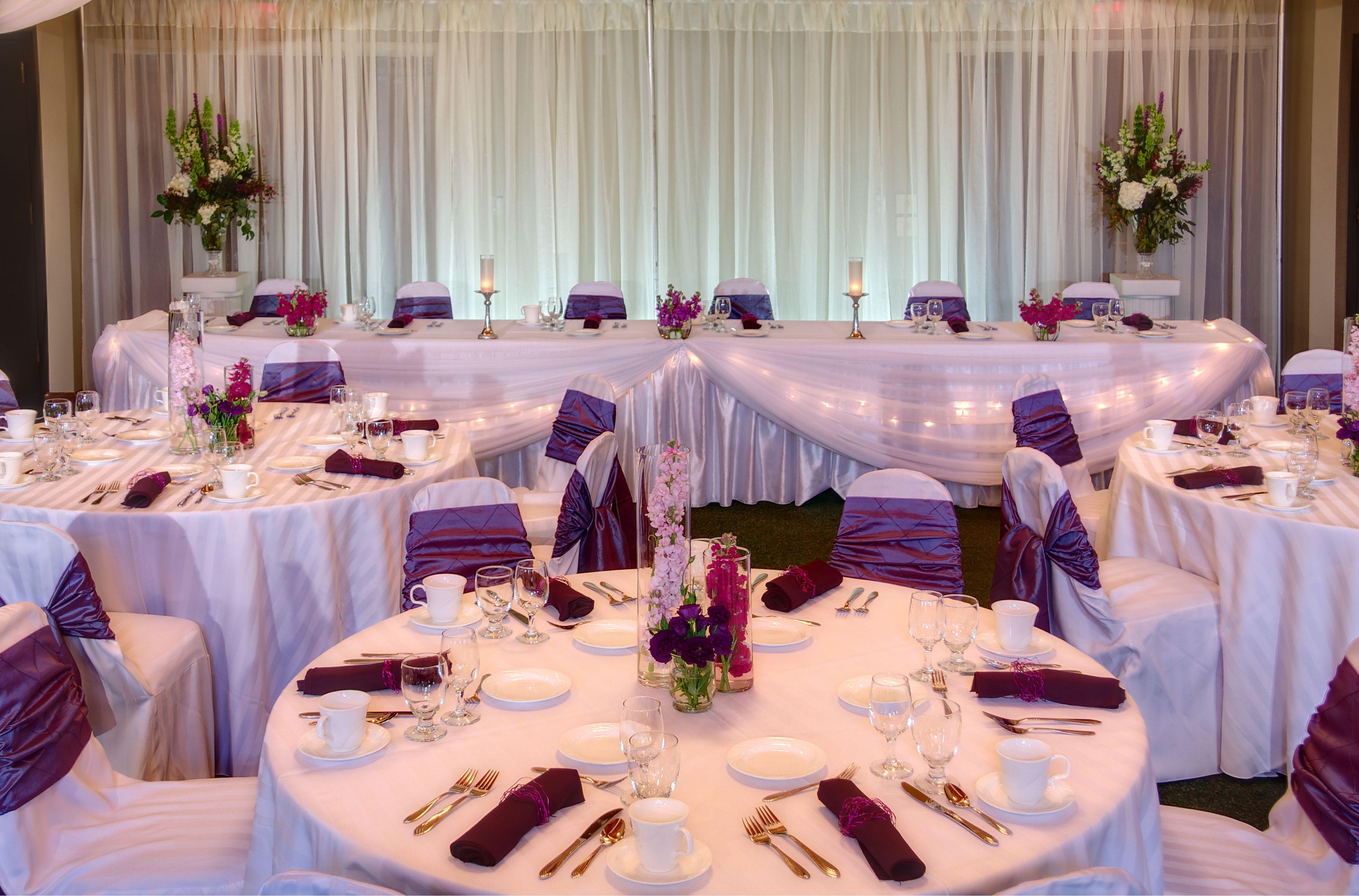 Wedding reception, purple accent colors