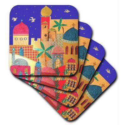 World Menagerie Jerusalem City Domes Islamic Architecture Art Arty Buildings Ceramic Tile Coaster