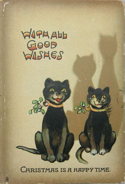 """""""Christmas is a Happy Time""""  Vintage Christmas Cats"""