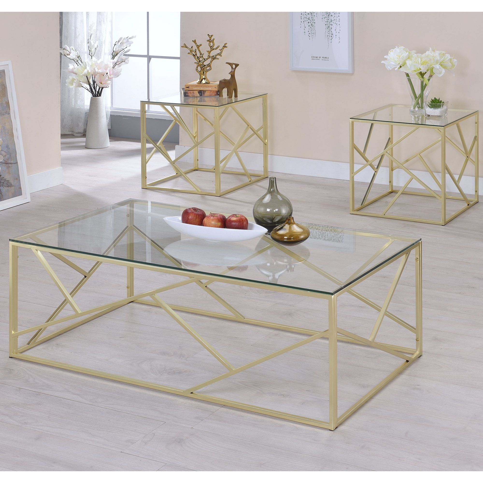 Furniture Of America Roth Contemporary 3 Piece Coffee Table Set Champagne Walmart Com In 2021 Glass Accent Tables Coffee Table 3 Piece Coffee Table Set [ 2000 x 2000 Pixel ]