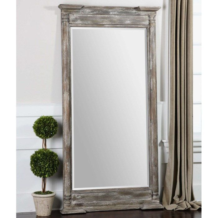 Uttermost 07652 Valcellina 74H Mirror In Weathered Wood Distressed Ivory Gray