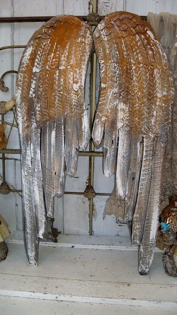 Large wooden angel wings deep colors white rusted ...