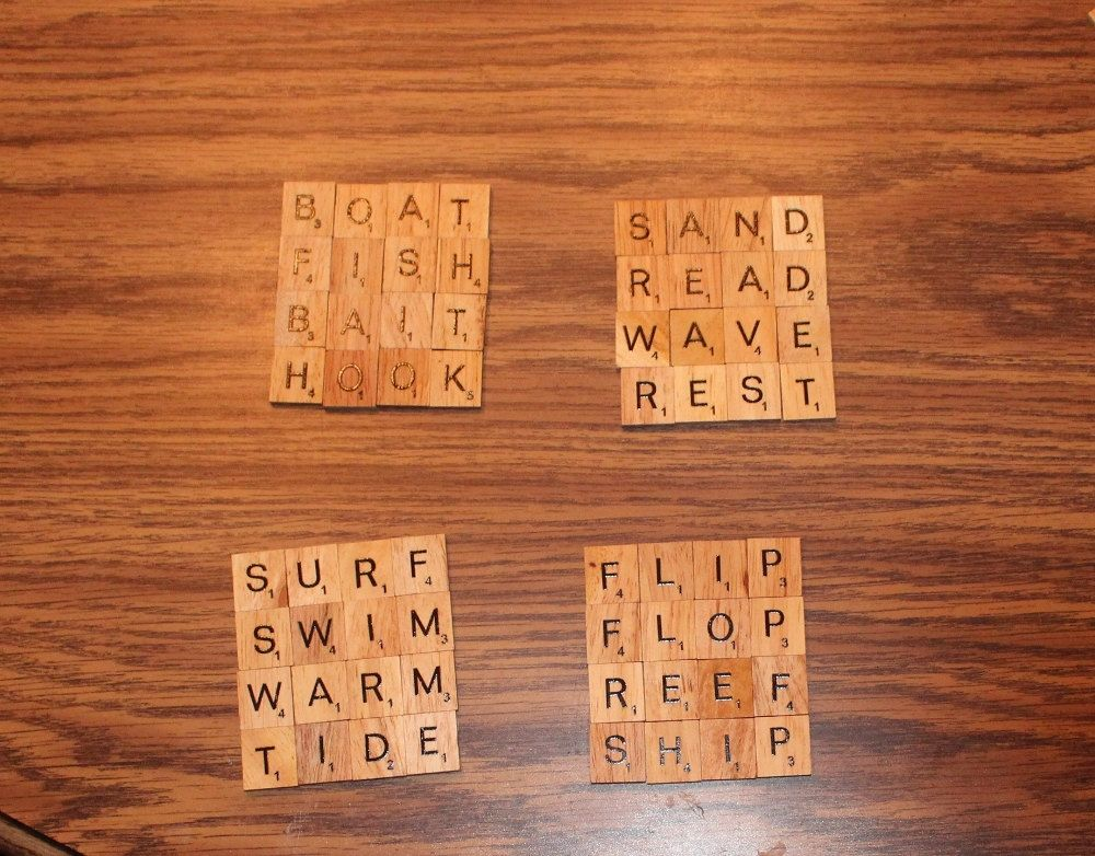 Beach Theme Coasters Scrabble Coasters Set Of With Cork Bottoms - Cork coaster bottoms